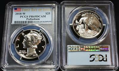 2018-W $25 1 Ounce .9995 Proof Palladium Eagle PCGS PR69DCAM *FIRST DAY OF ISSUE