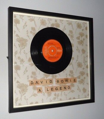 """DAVID BOWIE Presentation Framed 7"""" Vinyl Record + Own Personal Tile Message"""