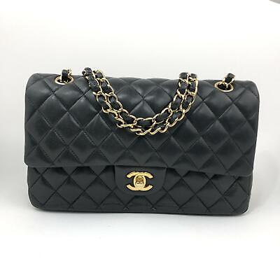 90d0fc730e56 CHANEL Quilted Double Flap Classic Handbag Black Lambskin Gold Hardware