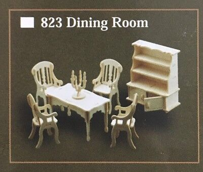 1/12th Scale Dining Room Furniture Set, Dolls House Miniatures, UK