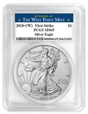 2018 silver eagle first strike PCGS MS 69 Struck at the  West Point Mint #6