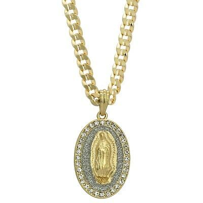 """Mens 14k Gold Plated Cz OVAL GUADALUPE Pendant Hip-Hop 6mm 24"""" Cuban #98 Chain"""