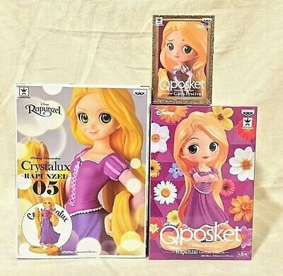 Disney Rapunzel Tangled LOT3 Crystalux, Q posket, Q posket petit JAPAN IMPORT