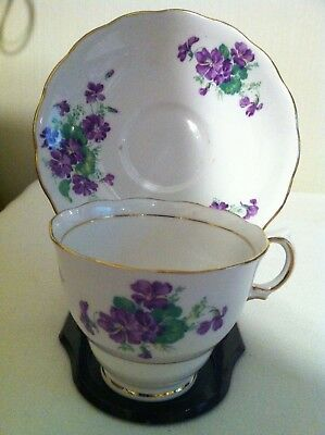 Colclough Bone China Tea Cup & Saucer- purple floral