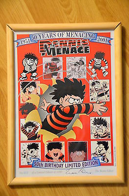BEANO Dennis The Menace 50th Birthday Limited A4 Print #903 Signed - Not Annual