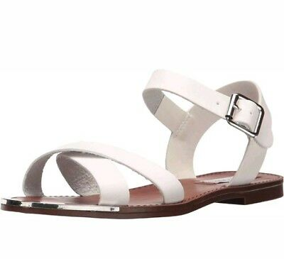 53747f1a247fd Steve Madden New Bayley White Flats Vegan Ankle Strap Buckle Sandals Size 7  M