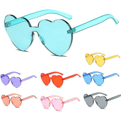 Womens Sunglasses Cute 2019 Large Heart Shaped Candy Oversized Clear Lens
