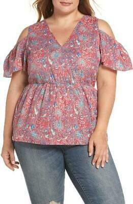 Lucky Brand Plus Women's sz 1X Red Multi Color Floral Cold Shoulder Blouse Top