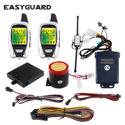 EASYGUARD 2 way motorcycle alarm system w remote engine start microwave sensor