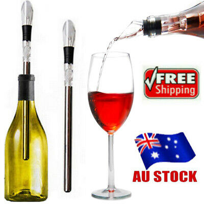Wine Stainless Steel Chiller Chill Stick Ice Cold Pourer Spout Bottle Freeze AU