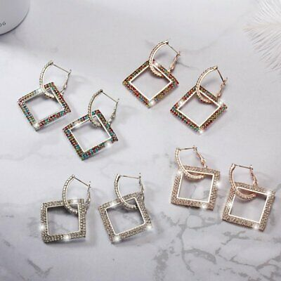 Fashion Silver Rose Gold Crystal Square Hoop Earrings Women Jewelry Wedding New