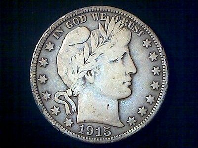 1915-D  Barber Half Dollar Coin, Old United States Silver Half Dollar Coin,