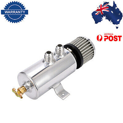 Aluminium Baffled Engine Oil Catch Can 2xAN10 Twin Port Breather Filter Polisher