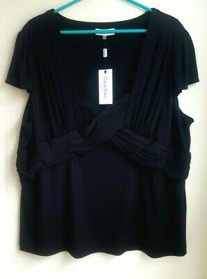 970ea992f68 Calvin Klein Ruffled Pleated Front Black Top Blouse Plus Size 2X NWT