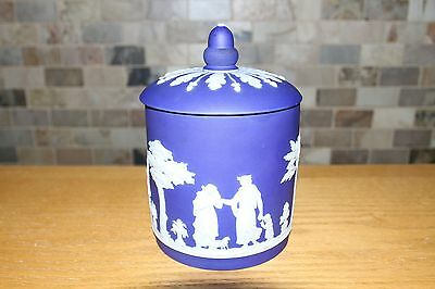 Rare Antique Wedgwood Dark Blue Jasper Ware Biscuit Jar with Cover (c.1800)