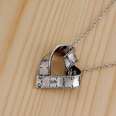 Heart Shape Tape Measure Necklace Pendant - Love Sewing Quilting Gift Jian