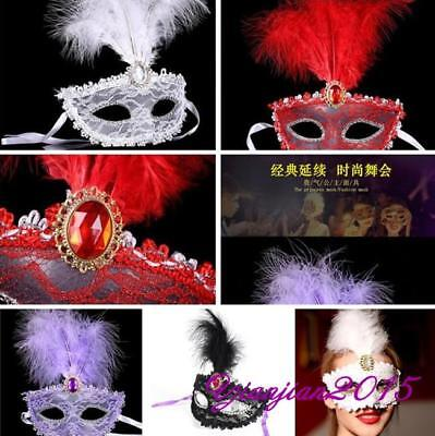 Woman Sexy Venetian Lace Feather Ball Masquerade Mask Halloween Party Eye Mask J