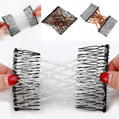 JT_ Magic Hair Stretchable Hairpin Slide Double Beads Women Stretchy Hair Comb