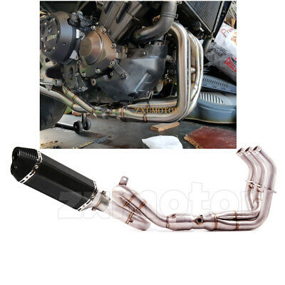 Motorcycle Exhaust System Loop Header Pipe Dual Hole For YAMAHA MT09 FZ09 14-18