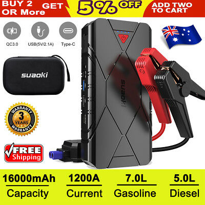 Suaoki 1200A Car Jump Starter Battery USB Power Bank Charger Gas Diesel 12V Boat