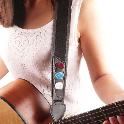 Black Adjustable Acoustic Electric Soft Guitar Bass Strap Youth Kids