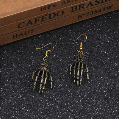 Halloween Party Jewelry Large Skeleton Hand Bones Skull Earrings Dangle Jian