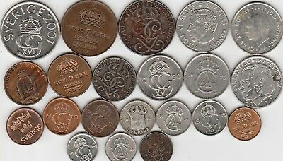 21 different world coins from SWEDEN some silver