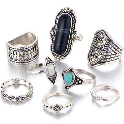 8Pcs Vintage Carved Turquoise Alloy Ring Set Fashion Jewelry Gift Jian