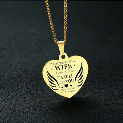 Engraved To My Beautiful Wife Heart Shaped Pendant Necklace Couple's Gift jian