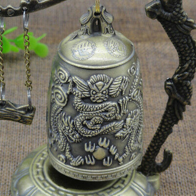 Zinc Alloy Retro Bronze Lock Chinese Dragon Carved Buddhist Bell Antique Jian