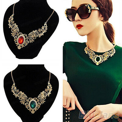 JT_ Hot Fashion Women's Gold Plated Crystal Flower Pattern Choker Bib Necklace