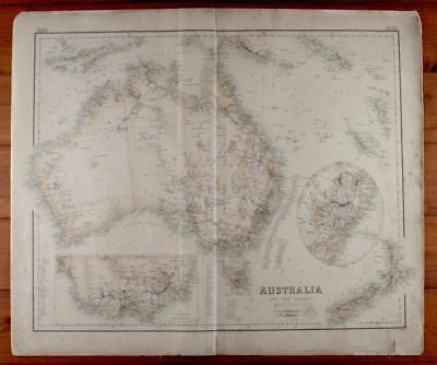 Antique Vintage c1864 MAP of AUSTRALIA & NZ - 56x47cms- NSW & VICTORIA INSETS