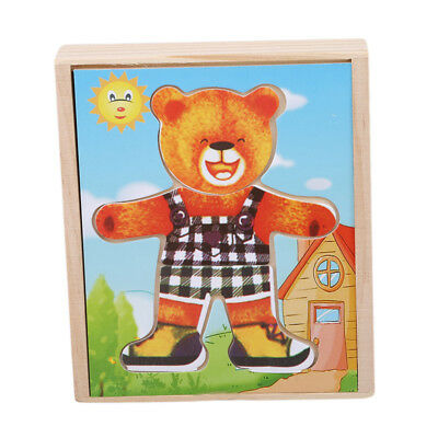 Wooden Puzzles Baby Educational Bear Changing Clothes Children Toy Gift jian