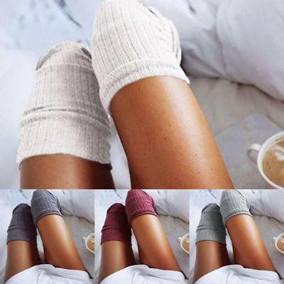Women Soft Winter Cable Knit Over Knee Long Boot Thigh-High Warm Socks Legging J