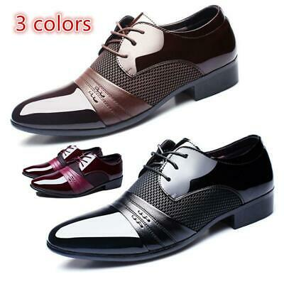 Formal Dress Business Oxford Men's Pointy Toe Cloth Lace Up Patent Leather Shoes