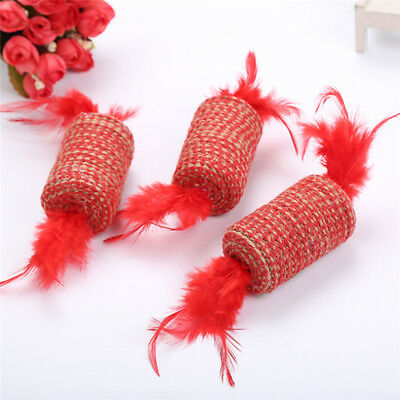 Cat Pet Sisal Rope Feather Ball Kitten Play Scratch Rattle Toy Gifts jian