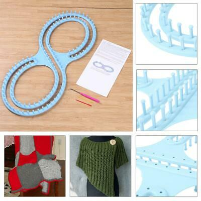 Afghan 8-shaped Loom Knitting Board Tool With 3 Projects For Sweater Socks Blue
