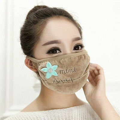 Soft Warm Anti-Dust Mouth-muffle Double Layer Flower Embroidered Mouth Mask jian