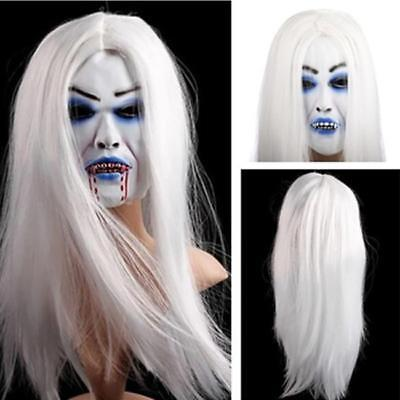 Scary Mask Halloween Toothy Zombie Bride With White Hair Horror Ghost Mask J