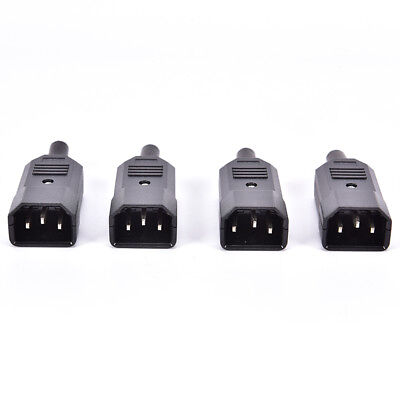 4PCS IEC C14 Male Inline Chassis Socket Plug Rewireable Mains Power Connector UQ