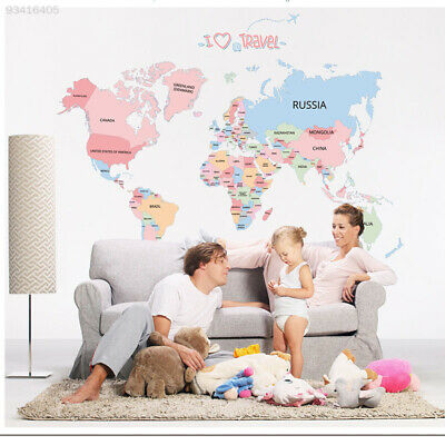 E907 World Map Large World Map Wall Stickers for Kids Map Of The World Decor