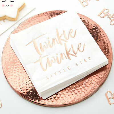 Rose Gold Twinkle Twinkle Paper Napkins Serviettes Oh Baby Party Tableware x 16
