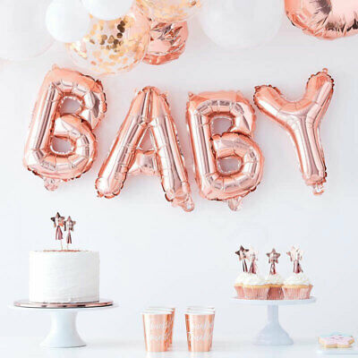 "Rose Gold 16"" Oh Baby Foil Balloon Letters Bunting Baby Shower Party Decoration"