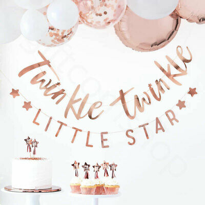 Rose Gold 1.5m Twinkle Twinkle Bunting Banner Oh Baby Shower Party Decoration x2