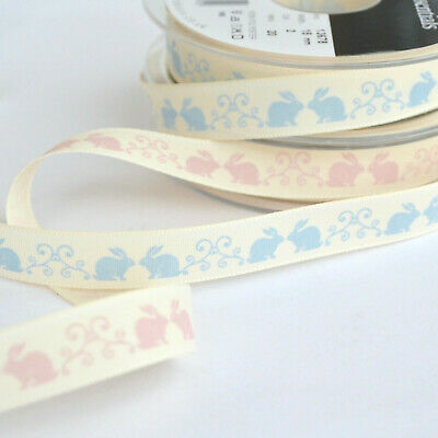 Easter Bunny Fabric Ribbons, 2 colours, Blue OR Pink, 15mm, PER METRE
