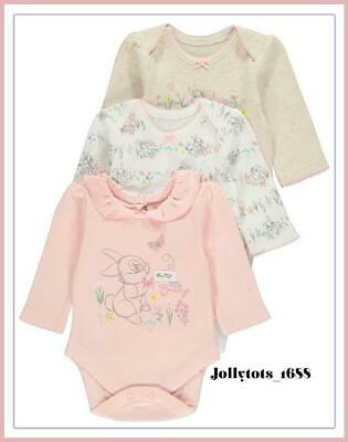 Disney Baby Girls Bambi Thumper Miss Bunny Character Clothing 3 Pack Bodysuits