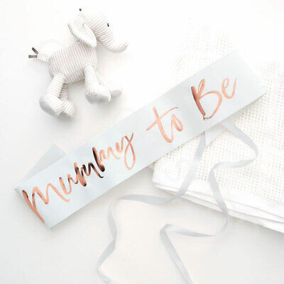 White Mummy to Be Sash Rose Gold Oh Baby Shower Party Accessories Mum To Be Sash