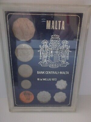 Malta: 1972 proof coin set; purple card; 8 coins up to 50 Cents; FREE UK pp
