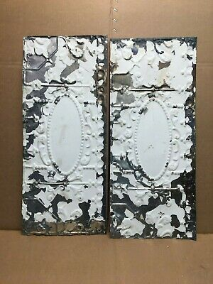 "2pc Lot of 24"" by 10"" Antique Ceiling Tin Vintage Reclaimed Salvage Art Craft"