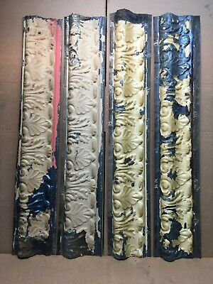 "4pc Lot of 40"" by 7.5"" Antique Ceiling Tin Vintage Reclaimed Salvage Art Craft"